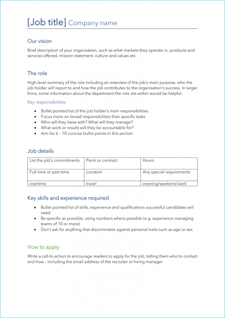 Corporate job description template