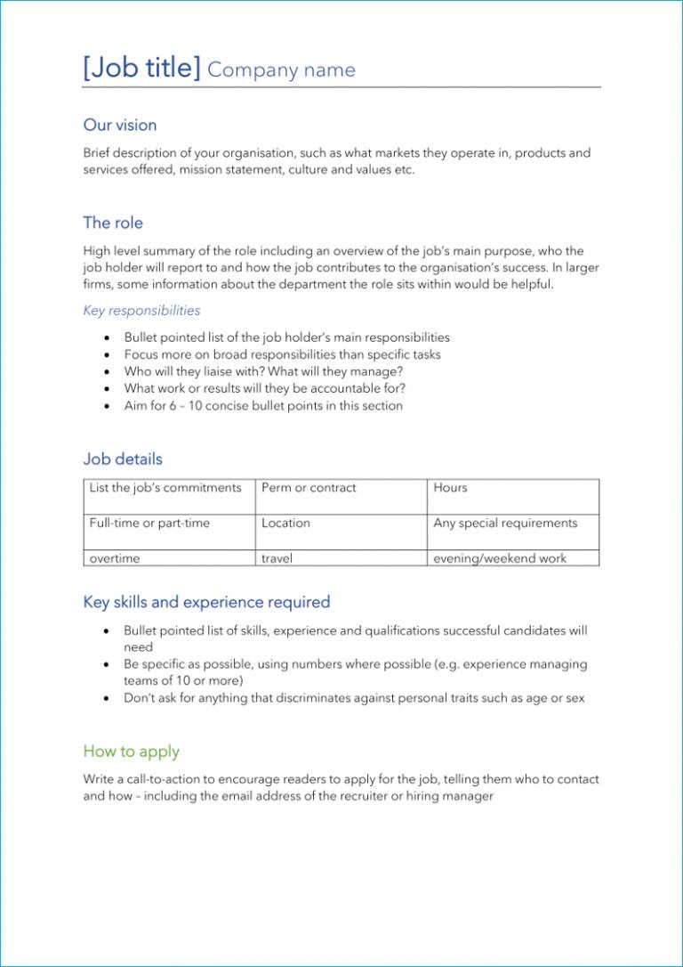 Corporate job description template