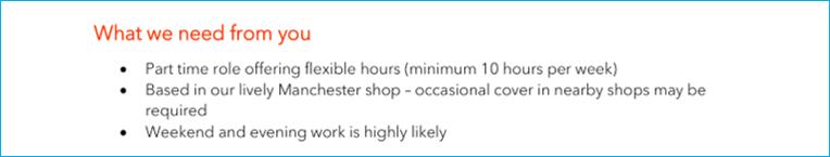 Job description - commitments