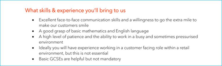 Job description - requirements