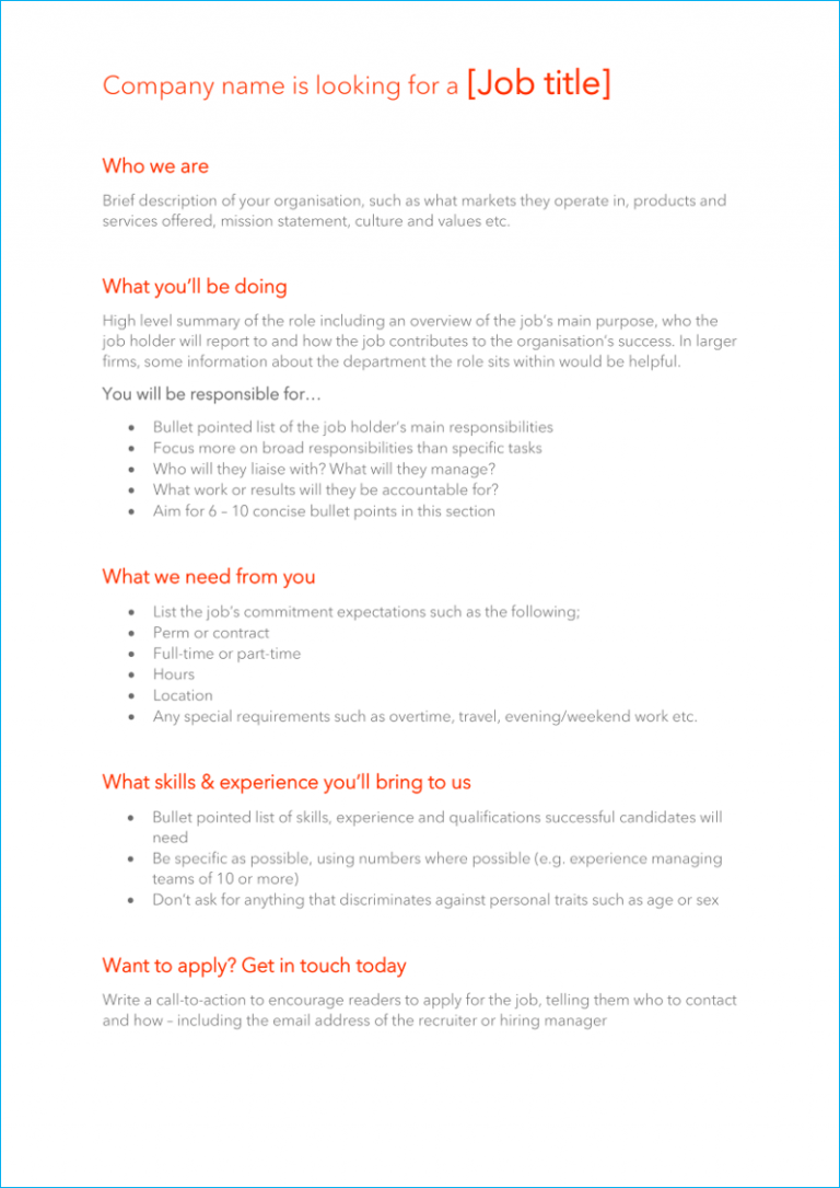 Tech firm job description template