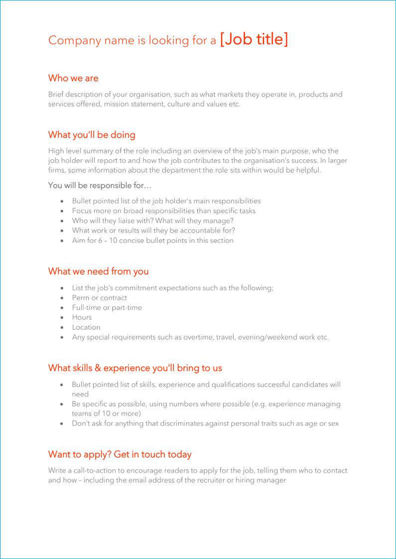 Tech firm job description template