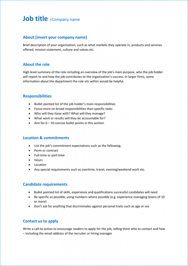 Basic job description template