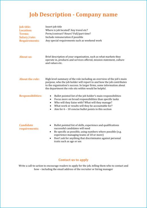 Modern job description template