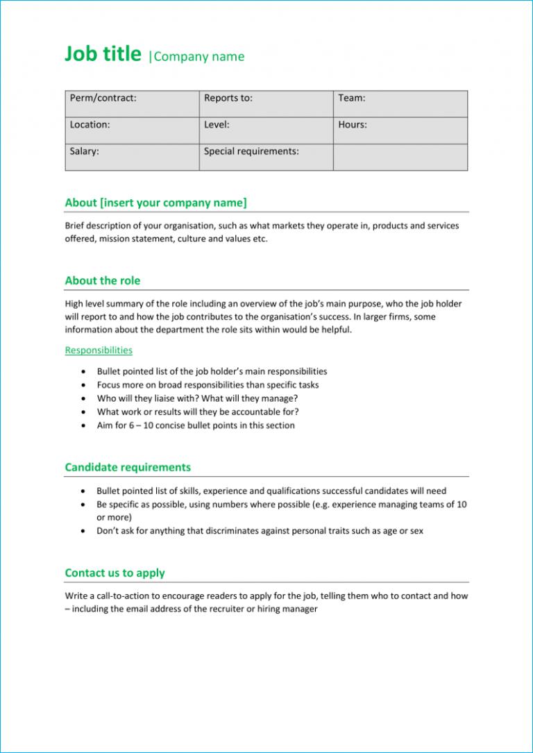 Professional job description template